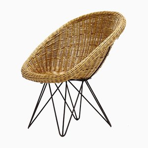 Mid-Century Rattan and Wire Steel Lounge Chair, 1960s