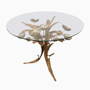Tavolino vintage dorato in metallo e vetro di Hans Kögl