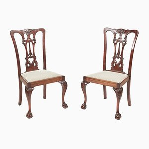 Antique Carved Mahogany Side Chairs, 1880s, Set of 2