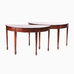 Edwardian Mahogany Demi-Lune Console Tables, Set of 2