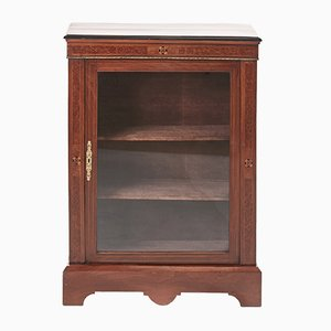 Antique Victorian Walnut Inlaid Display Cabinet, 1870s