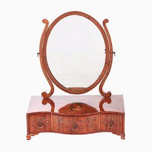 Miroir de Courtoisie Antique en Bois de Satin, 1860s