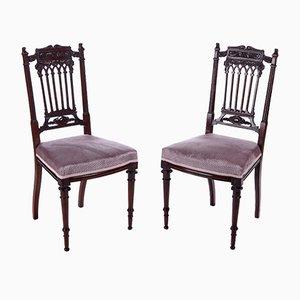 Antike Beistellstühle aus geschnitztem Mahagoni, 1880er, 2er Set