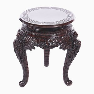Antique Chinese Carved Hard Wood Stand, 1870s