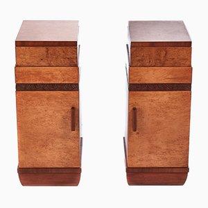 Birdseye Maple Bedside Cabinets, 1920s, Set of 2