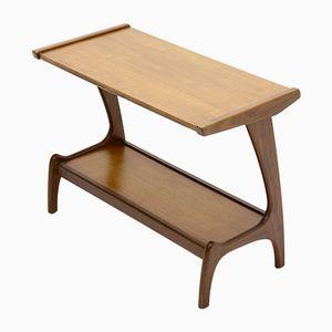Tavolino scultoreo in teak di Louis van Teeffelen per WeBe, anni '50
