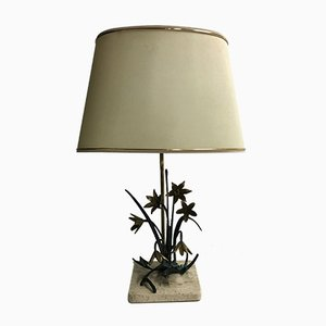 Vintage Bronze Flower Table Lamp, 1970s