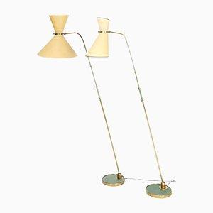 Französische Mid-Century Stehlampe mit originalen Diabolo-Schirmen von Maison Lunel
