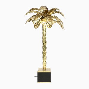 Large Vintage Brass Palm Tree Floor Lamp from Maison Jansen