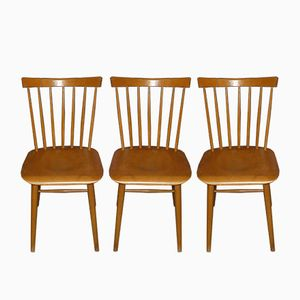 Wooden Kitchen Chairs, 1950s, Set of 3