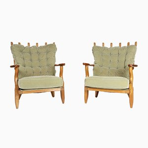 Vintage Grand Repos Oak Armchairs by Guillerme et Chambron for Votre Maison, Set of 2