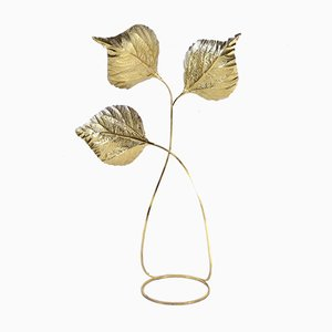 Vintage Rhubarb Leaf Brass Floor Lamp by Tommaso Barbi
