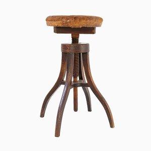 Sgabello regolabile antico in legno e pelle, Danimarca