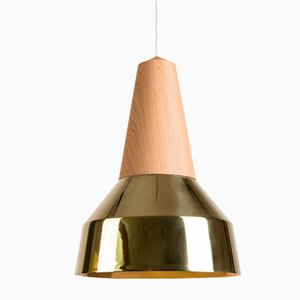 Eikon Ray Brass & Oak Pendant Lamp from Schneid Studio
