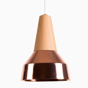 Eikon Ray Copper & Oak Pendant Lamp from Schneid Studio