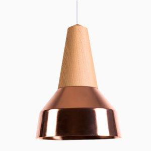 Lámpara colgante Eikon Ray de roble y cobre de Schneid Studio