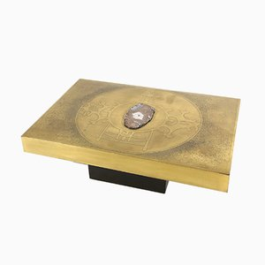 Vintage Etched Brass and Agate Coffee Table by Marc D'Haenens