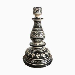 Portacandele fatto a mano vintage in ceramica
