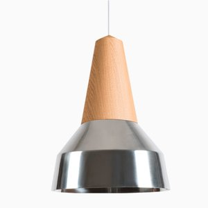Eikon Ray Chrome & Oak Pendant Lamp from Schneid Studio