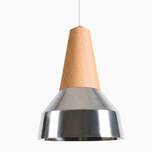Lampada Eikon Ray in metallo cromato e quercia di Schneid Studio