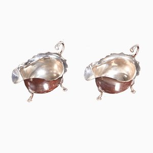 Antique Solid Silver Gravy Boats, Set of 2
