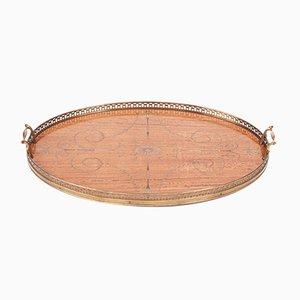 Bandeja antigua ovalada de madera satinada, década de 1880