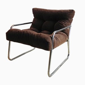 Vintage Chrome and Corduroy Lounge Chair