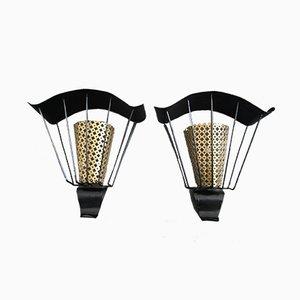 Lámparas de pared francesas de metal, años 50. Juego de 2
