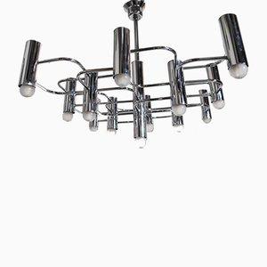 Lámpara de araña de acero con nueve puntos de luz de Gaetano Sciolari para Boulanger, años 70