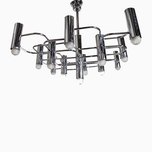 Steel 9-Light Chandelier by Gaetano Sciolari for Boulanger, 1970s