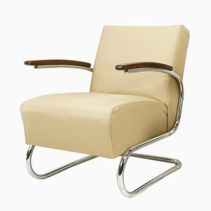 Champagne Leather Cantilever Armchair from Mücke Melder, 1930s