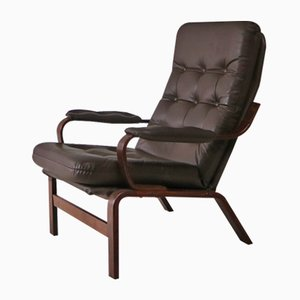 Midcentury Danish Leather and Beech Lounge Chair, 1960s