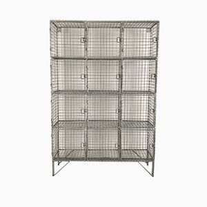Vintage Wire Mesh Pigeon Hole Locker with 12 Compartments