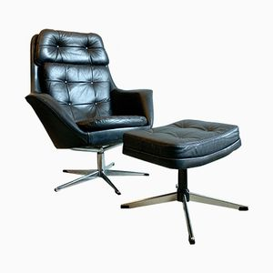 Vintage Black Leather Swivel Armchair & Footstool by H.W. Klein for Bramin