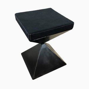 Low Black Time Stool by Alessandro Bergo for Metallofficina