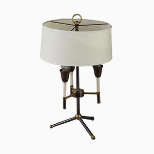 Black and Gilded Metal Tripod Table Lamp, 1950s