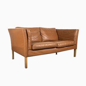 Braunes Vintage 2-Sitzer Ledersofa