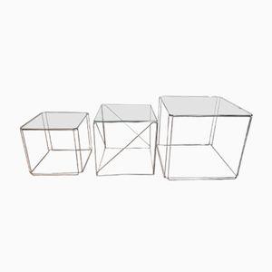 Tavolini ad incastro vintage cubici in vetro e metallo cromato di Max Sauze, anni '70
