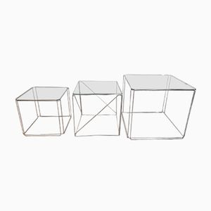 Vintage Glass and Chrome Cubic Nesting Tables by Max Sauze, 1970s