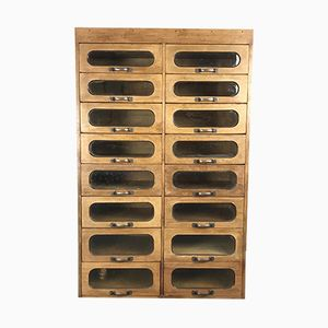 Vintage Oak Haberdashery Cabinet with 16 Drawers, 1930s