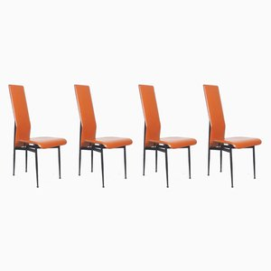 Leather S44 Dining Chairs by Giancarlo Vegni for Fasem, 1990, Set of 4