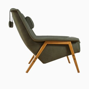 Scandinavian Modern Green Leather Lounge Chair by Folke Ohlsson for Fritz Hansen, 1960s