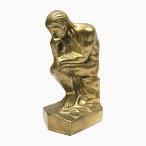 Vintage Brass Bookends Kneeling Man, 1970s
