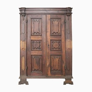 Antique Italian Solid Walnut Wardrobe, 1680s