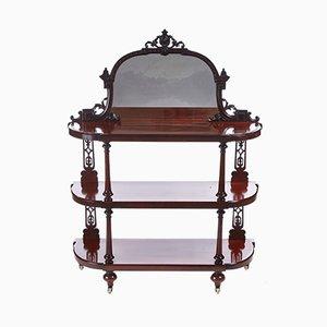 Whatnot victoriano de caoba con espejo tallado, década de 1850