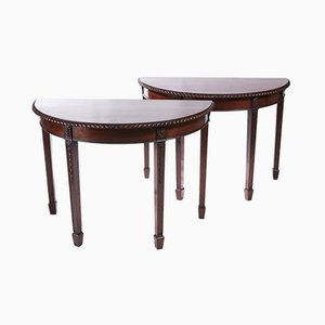 Carved Mahogany Demi-Lune Console Tables, 1880s, Set of 2