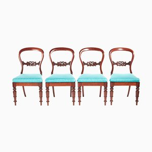 Victorian Mahogany Balloon Back Dining Chairs, Set of 4