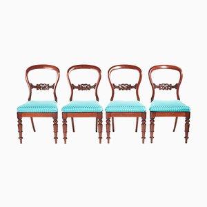 Victorian Mahogany Balloon Back Dining Chairs, Set of 4