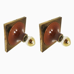 Ceramic and Brass Sconces, 1960s, Set of 2