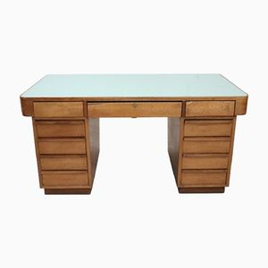 Large Art Deco Walnut Veneered Desk, 1950s